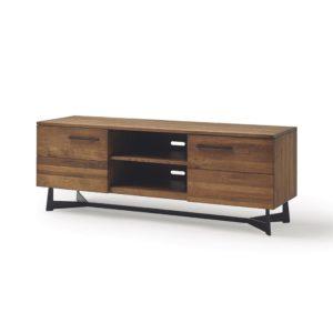 Mueble tv de madera maciza de roble. Patas metal pintado